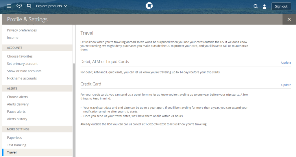 online chase travel notification form