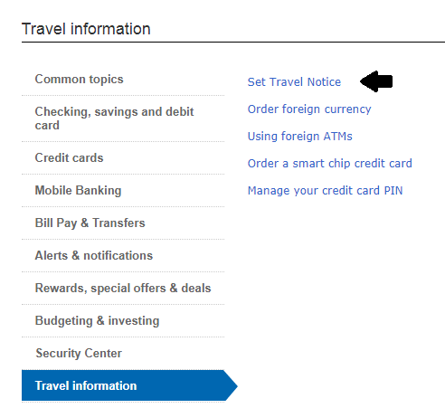 How To Notify Bank Of America Travel Plans