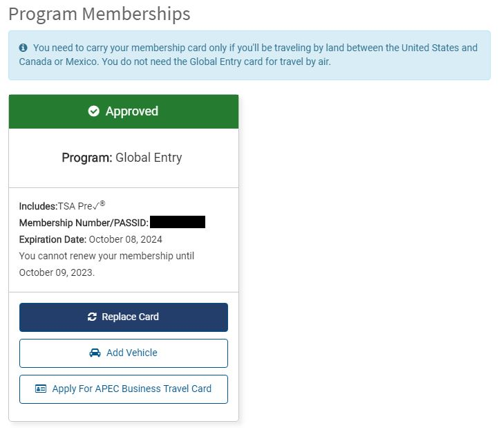 how to replace a global entry membership card from your TTP account